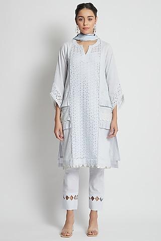 Light Grey Tonal Embroidered Kurta Set by Sitaraa