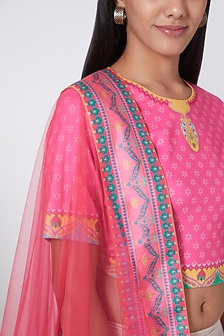 Pink Dupatta With Printed Border by SIDDHARTHA BANSAL