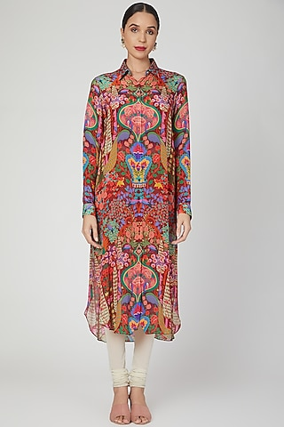 Brown Bagh Printed Shirt Dress by SIDDHARTHA BANSAL