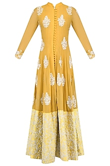 Mustard Yellow Embroidered Anarkali Set  by Jhunjhunwala