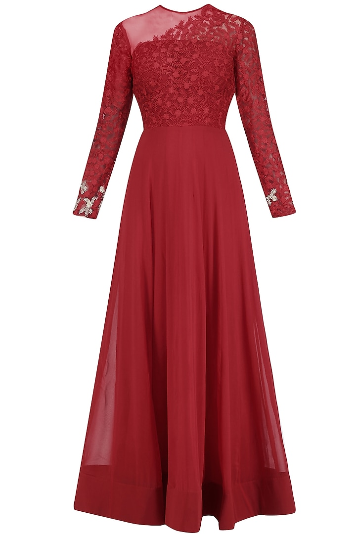 Red Resham Emroidered Sheer Gown  by Jhunjhunwala
