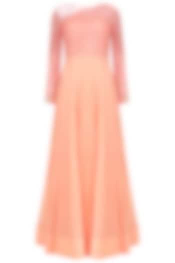 Peach Resham Emroidered Sheer Gown  by Jhunjhunwala