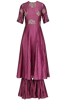 Dark Gajri Resham Embroidered Anarkali Set  by Jhunjhunwala