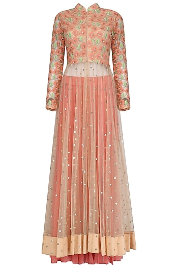 Baby Pink Embroidered Anarkali and Fuschia Pink Lehenga Set by Jhunjhunwala