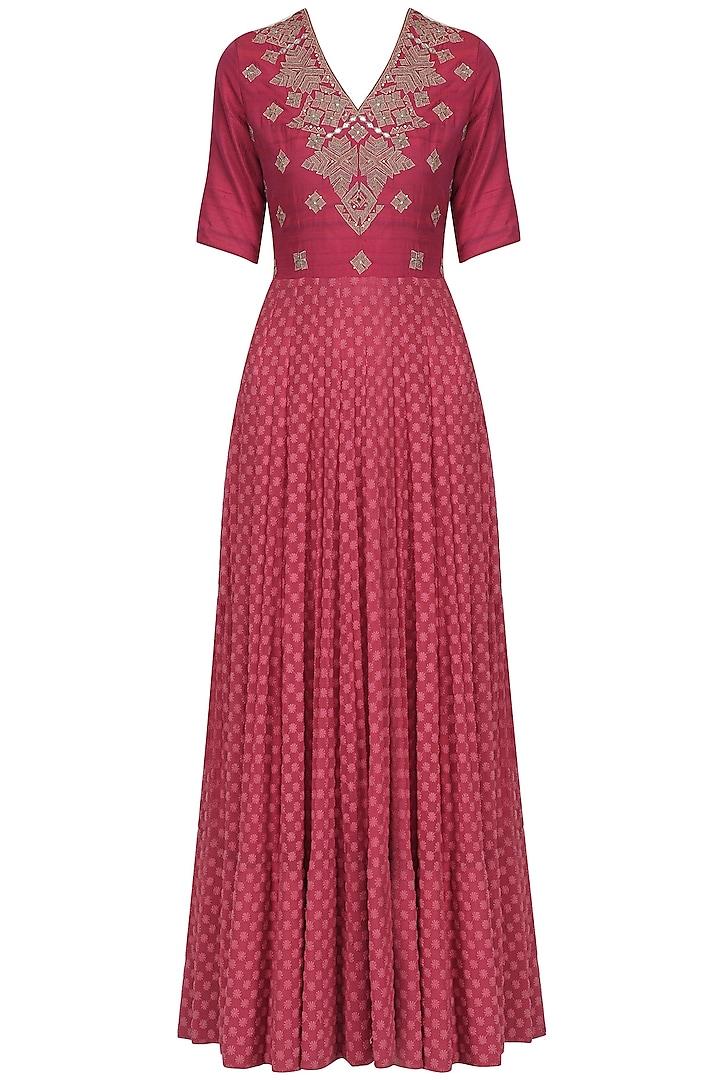 Dark Pink Zardozi Embroidered Gown by Jhunjhunwala