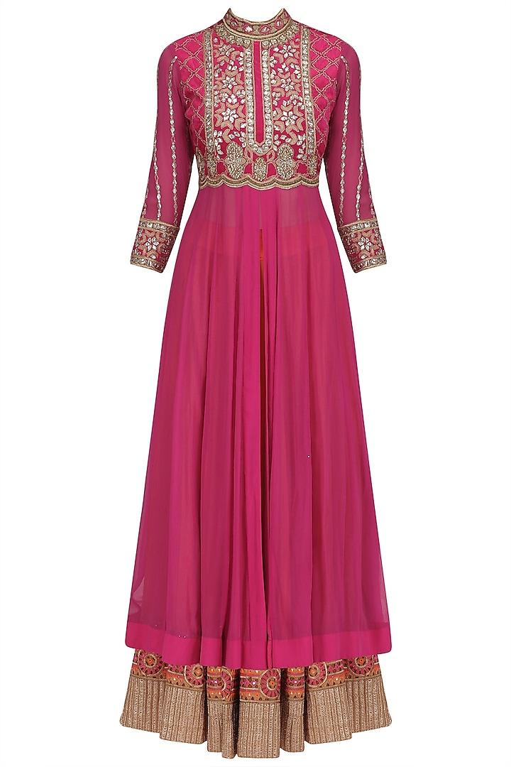 Bright Pink Gota Patti Embroidered Anarkali and Lehenga Set by Jhunjhunwala