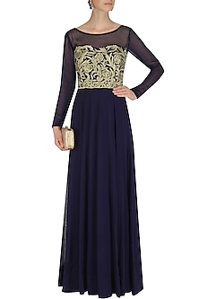 Navy Blue Zari Embroidered Gown by Jhunjhunwala