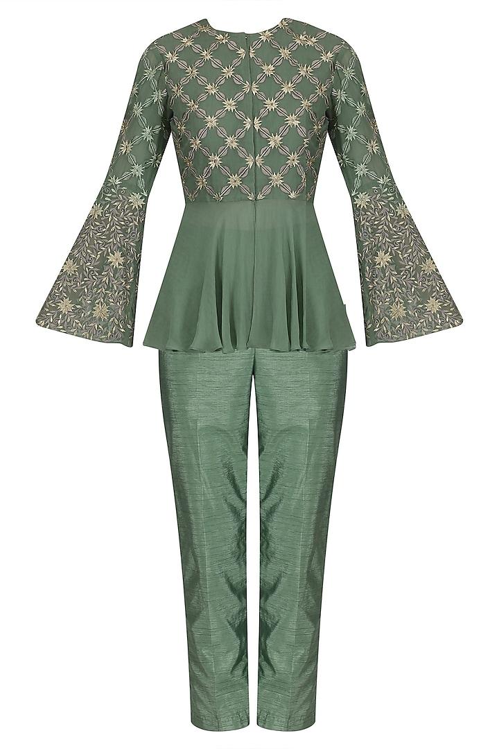 Sea Green Embroidered Peplum Jacket with Straight Pants by Jhunjhunwala