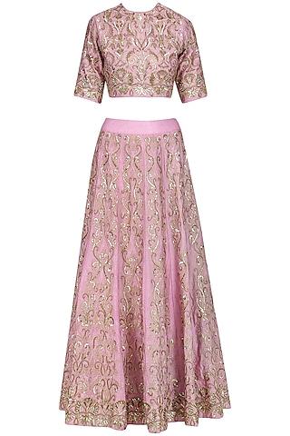 Muavish Pink Hand Embroidered Lehenga Set by Jhunjhunwala