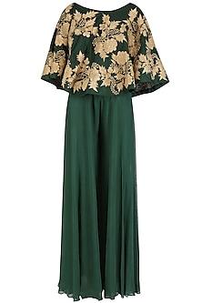 Emerald Green Off Shoulder Cape and Palazzo Pants Set by Jhunjhunwala