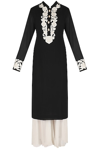 Black Hand Embroidered Kurta and White Palazzos Set by Jhunjhunwala