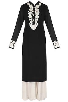 Black Hand Embroidered Kurta and White Palazzos Set by Jhunjhunwala
