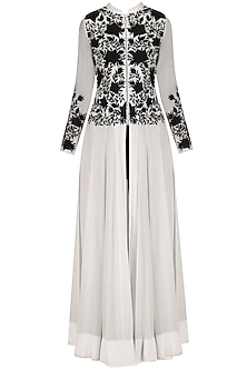 Black and White Embroidered Anarkali with Straight Pants by Jhunjhunwala