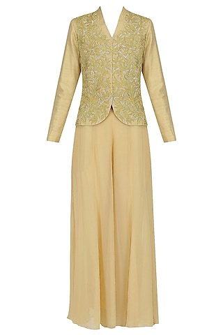 Biege and Gold Emrbroidered Jacket and Pants Set by Jhunjhunwala