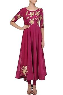 Dark Pink Floral Embroidered Anarkali Set by Jhunjhunwala