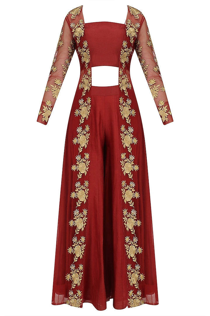 Red Floral Embroidered Jacket, Bustier and Palazzo Pants Set by Jhunjhunwala