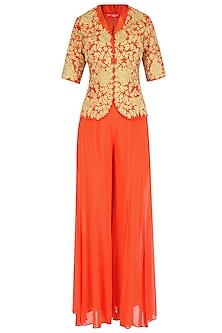 Orange and Gold Dori Embroidered Jacket With Palazzo Pants by Jhunjhunwala