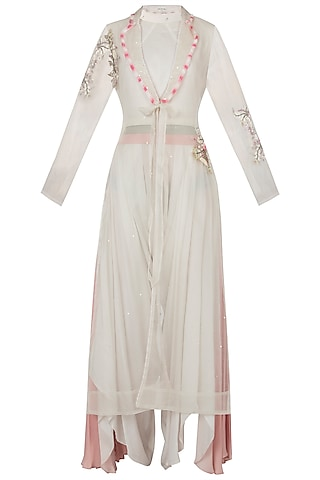 White embellished jacket with top and drape pants by Shreya Jalan Mehta