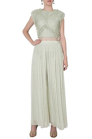 Mint green ruffled top with pants by Shreya Jalan Mehta