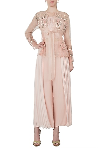 Peach ombre embellished jacket with bustier and pants by Shreya Jalan Mehta