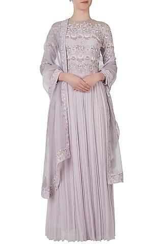 Misty lavender embroidered anarkali gown with dupatta by Shreya Jalan Mehta