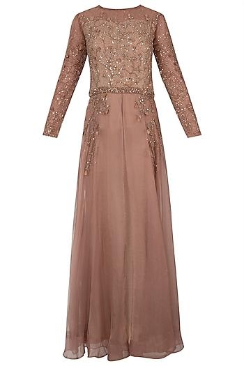 Rustic brown embellished anarkali gown by Shreya Jalan Mehta