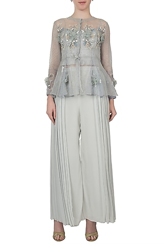 Sky blue and lavender ombre embellished jacket with bustier and pants by Shreya Jalan Mehta