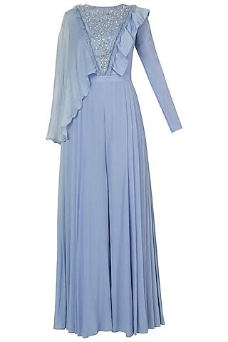 Serenity blue embroidered jumpsuit by Shreya Jalan Mehta