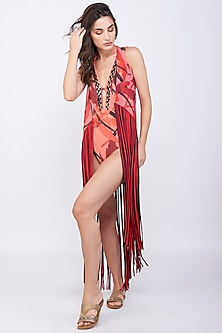 Red Coverup With Fringes by KAI Resortwear