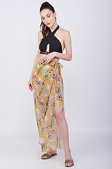 Yellow Printed Sarong Coverup Skirt by KAI Resortwear