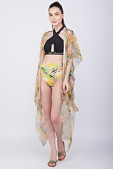 Yellow Printed & Embroidered Kaftan Coverup by KAI Resortwear