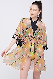 Yellow Pine Print Kaftan Coverup by KAI Resortwear