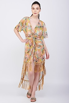 Yellow Printed Kaftan Coverup With Tassels by KAI Resortwear