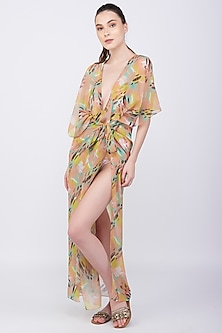 Yellow Kaftan Coverup With Pine Print by KAI Resortwear