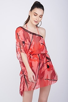 Red Printed & Embroidered Kaftan Coverup by KAI Resortwear