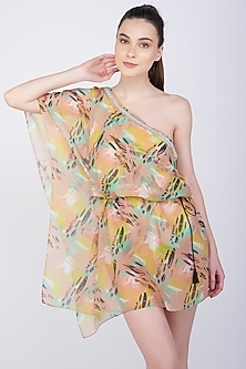 Multi Colored Printed & Embroidered Kaftan Coverup by KAI Resortwear
