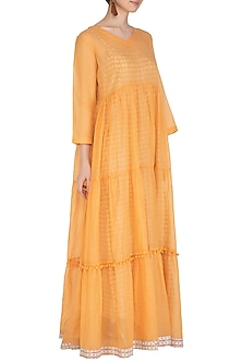 Yellow Maxi Dress With Block Printed Slip by Shikha Malik