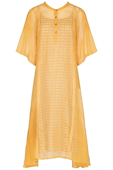 Yellow Midi Dress With Block Printed Slip by Shikha Malik