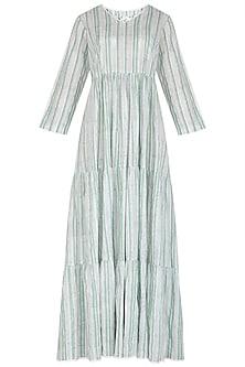 Pastel Green Block Printed Maxi Dress by Shikha Malik