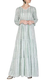 Pastel Green Block Printed Maxi Dress by Shikha Malik