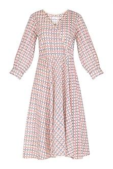 Pink & Blue Block Printed Dress by Shikha Malik