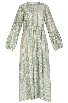 Pastel Green Block Printed Midi Dress by Shikha Malik