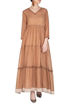 Brown Maxi Dress With Block Printed Slip by Shikha Malik