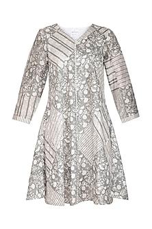 Grey Block Printed Dress by Shikha Malik