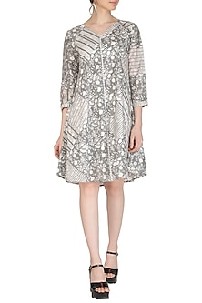 Grey Block Printed Dress by Shikha Malik