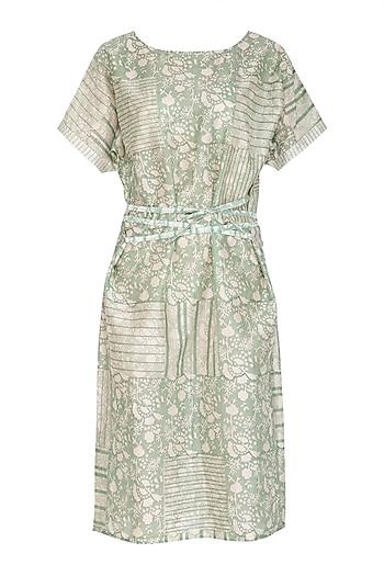 Pastel Green Block Printed Dress With Belt by Shikha Malik