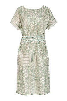 Pastel Green Block Printed Dress With Belt by Shikha Malik