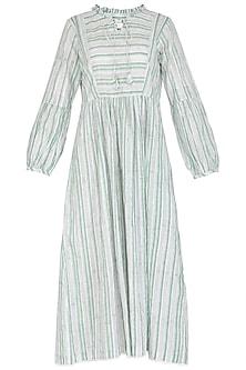 Pastel Green Block Print Striped Dress by Shikha Malik