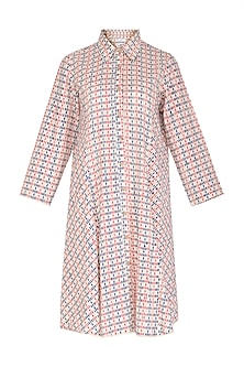 Pink & Blue Block Printed Collar Dress by Shikha Malik
