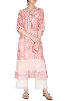 Pastel Pink Block Printed Kurta by Shikha Malik
